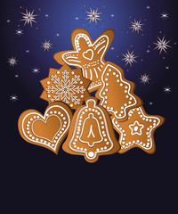 Christmas gingerbread blue template