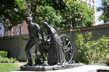 Statue to Mormon Pioneers in Temple Sq Salt lake City USA