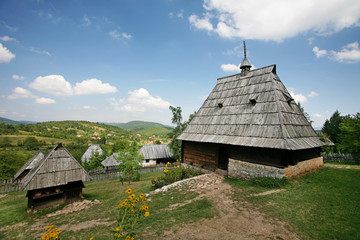 Traditional serbian houses in  ethno-village