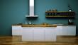 Küchendesign - Küche weiss türkis 2