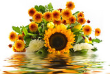 bouquet of sunflowers in the reflection of water