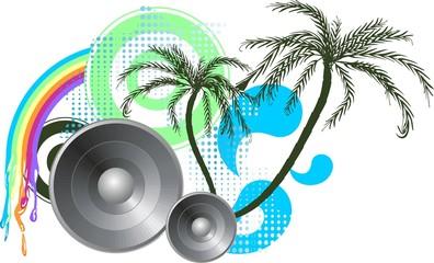 sommerliches Palmendesign mit Vektorkreisen