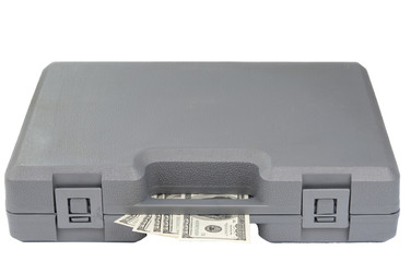 gray case with bills of dollars