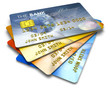 Set of color credit cards