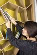 arrange books, a woman arrange books on bookshelf.