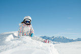 Winter vacation, skier portrait (copy space) poster