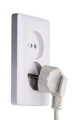 White electric plug and socket