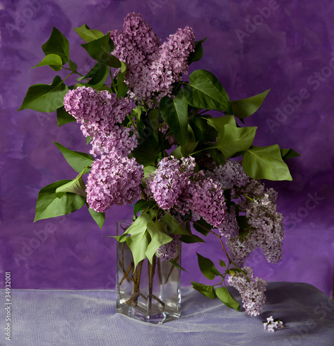 bouquet of spring purple Lilac in a vase. Still life