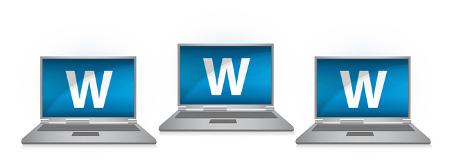 www on laptop illustration design