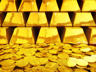 Gold coin pile and ingots , 3d illustration