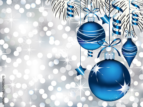 Blue Ornaments on Silver Bokeh