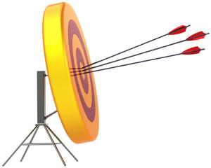Target hitting by arrows in bull's eye. Successful shooting