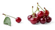 Ripe cherries group and single cherry with leaf