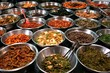 Bowls of kimchi on a Korean traditonal food market