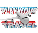 Plan Your Travel Itinerary Words Airplane Background poster