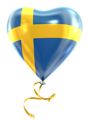 Balloon shape heart flag country Sweden