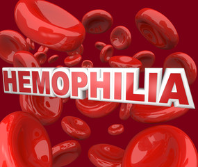 Hemophilia Disorder Disease Word in Blood Stream in Red Cells