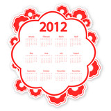 red flower calendar for 2012