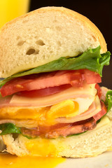 Sandwich with lettuce, tomato, cheese, ham, fried egg
