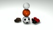 Soccerball, basketball, volleyball, boxing and baseball gloves