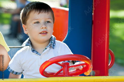 Cute little boy having fun.