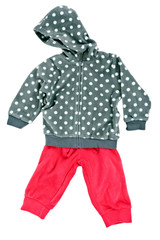 gray hooded sweater children's polka dot pants with red