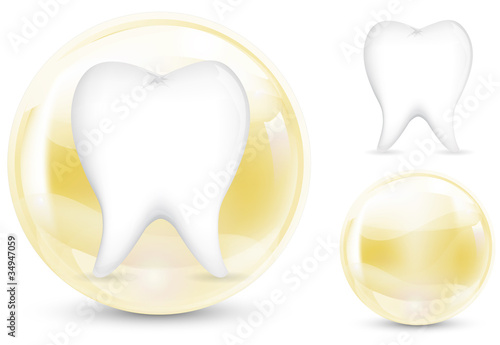 abstract of protection tooth isolate on white background