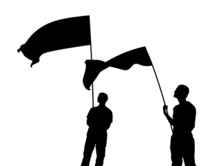 Men with flag silhouettes. Vector illustration