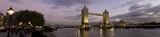 Panoramic photo of Tower Bridge and River Thames, London.-