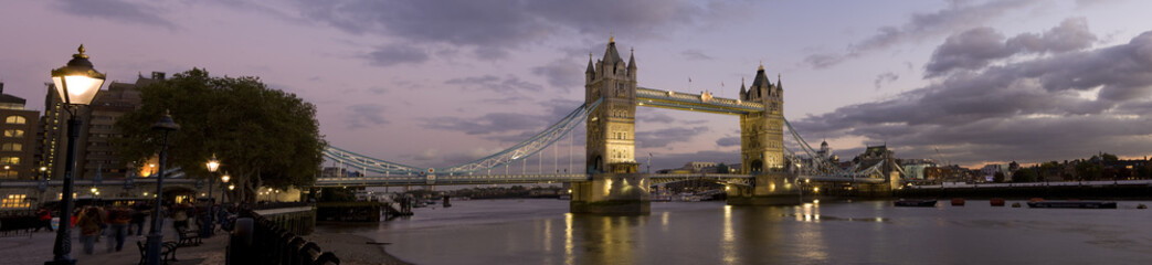 Panoramic photo of Tower Bridge and River Thames, London.