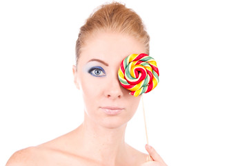 Woman and lolipop