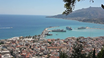 Ship leaving Zakinthos Port in Greece