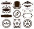 Vector set of vintage frames and elements.