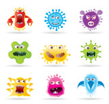 Bugs, germs and virus icons - vector illustration