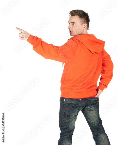 pointing up young man in orange sweatshirt, series