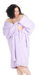 temptation -  overweight, fat woman in bathrobe