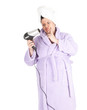 fat woman after shower,  keeping hairdryer; series