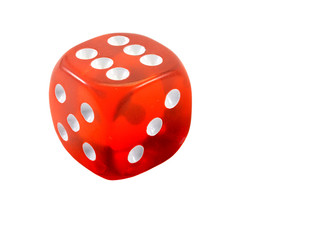 The classic red dice, isolated on white.