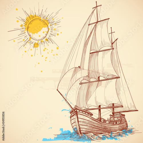 Vector sailing boat - 34955856