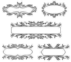 Collection of beauty ornate vintage frames isolated on white