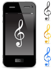 touch phone with music note