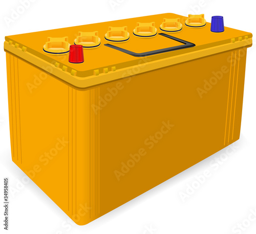 yellow car battery isolated on white background