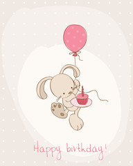 Greeting Birthday Card with Cute Bunny
