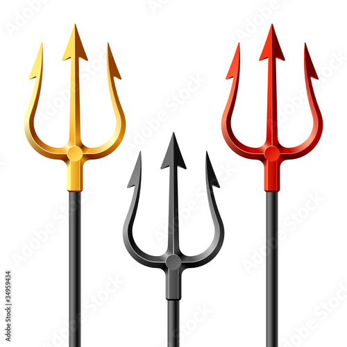 Gold, black and red tridents