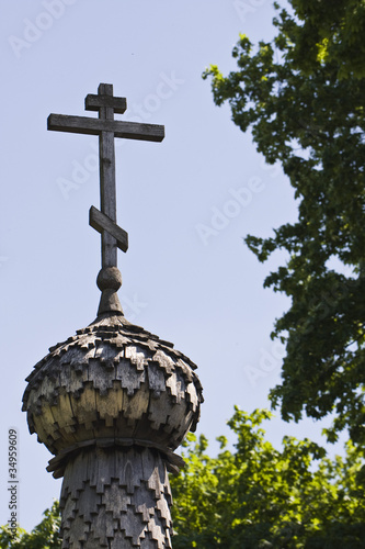 wooden Orthodox cross on wooden cupola