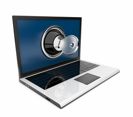 Laptop 3D with lock and key. Computer security. Isolated on whit