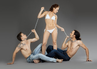 Two man on chain for woman - sexual games