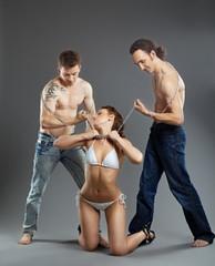 Two man take woman on chain - bdsm games