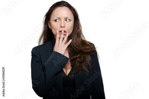 Portrait of beautiful afraid Asian woman looking away