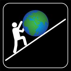 Man pushing the earth